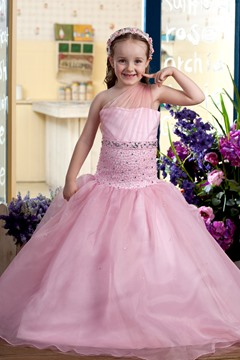 Amazing One-Shoulder Ball Gown Floor-length Beaded Flower Girl Dress