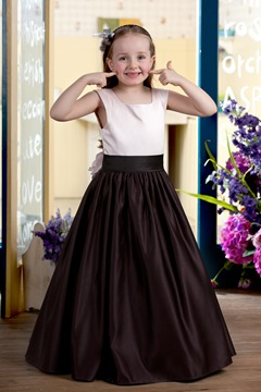 Faddish A-line Ankle-length Flowers Sash Flower Girl Dress