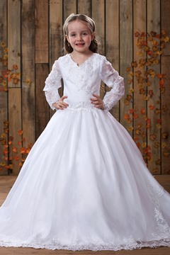 Elegant Long-Sleeve A-line Floor-length V-Neck Court Lace Flower Girl Dress