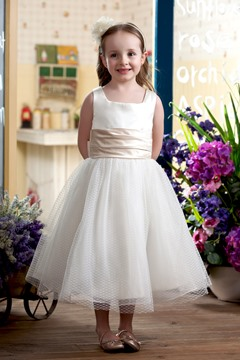 Cute Ball Gown Square Tea-length Sash Embellishing Flower Girl Dress