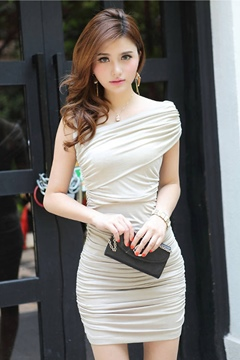 Ericdress Alluring Pure Color Pleated Bodycon Dress