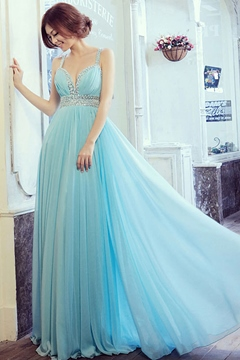 Great A-Line Floor-Length Spaghetti Straps Evening Dress