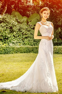 Attractive A-Line Straps Court Train Appliques Wedding Dress