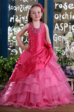 Concise Ball Gown Halter Floor-length Sequins & Flower Embellishing Flower Girl Dress