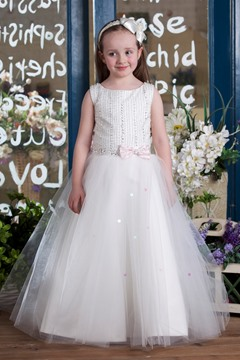 A-line Tea-Length Scoop Bowknot Embellishing Flower Girl Dress