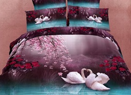 4-Piece Cotton Bedding Sets with Romantic White Swans in the Lake