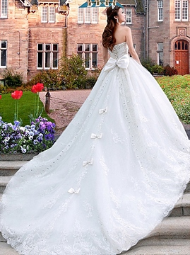 Ericdress A-Line Sweetheart Chapel Train Lace Bowknot Wedding Dress