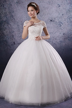 Unique Ball Gwon A-line/Princess Short Sleeves Lace Wedding Dress