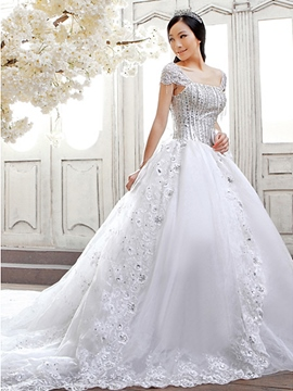Noble A-Line Cap Sleeves Lace Chapel Train Wedding Dress