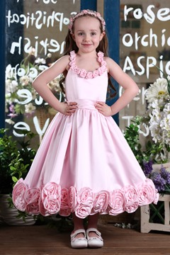 Fantastic A-line Scoop Tea-length Flowers Embellishing Flower Girl Dress