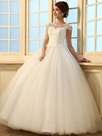 Elegant Cap Sleeves Ball Gown Lace Wedding Dress
