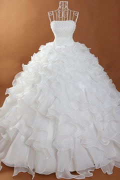 Pretty Ball Gown Beading Ruffles Long White Wedding Dress
