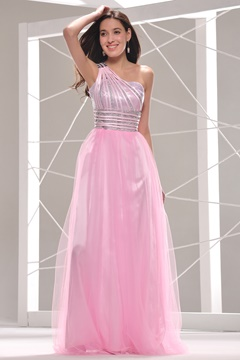 Pretty One-Shoulder Sequins Ankle-Length Prom/Evening Dress
