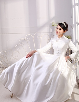 Vintage Long Sleeves Floor Length A Line Lace Wedding Dress