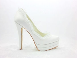 Noble White Platform Satin Stiletto Heels Closed Toe Prom/Evening Shoes