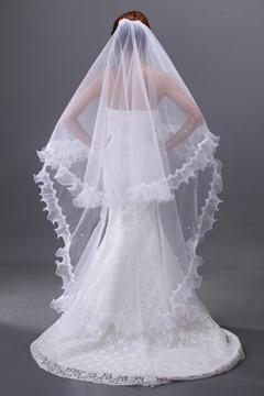 Charming Beads Single-wire Yarn Ankle-length Waltz Wedding Bridal Veil