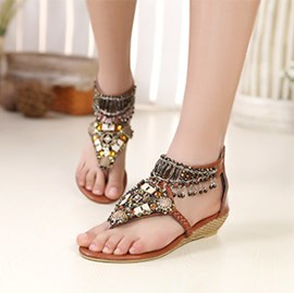 Bohemian Style Brown PU Upper Flat Heels Women Sandals with Rhinestones