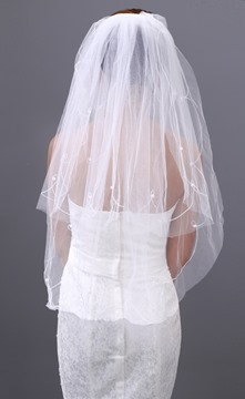 Glanmorous Fingertip Wedding Veil with Beadings