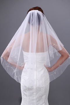Shinning Tulle Two Layers Elbow Wedding Bridal Veil