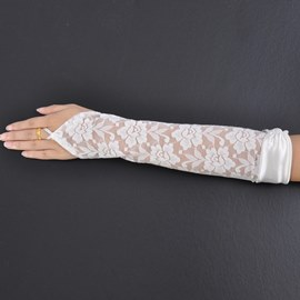 Dentelle transparente Fingerless Wedding Bridal gants