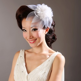 Faddish White Net/Feather Drill Bridal Headpieces