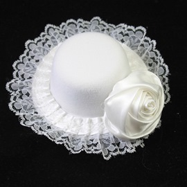 Pretty White Nylon Lace Wedding Fascinator Hats