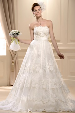 Elegant A-Line Appliques&beading Lace Wedding Dress