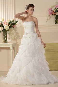 Splendid A-line Strapless Appliques Chapel Tiered Wedding Dress