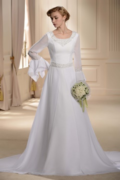 Chic Scoop Neckline Long Sleeves Chapel Train Beading Wedding Dress