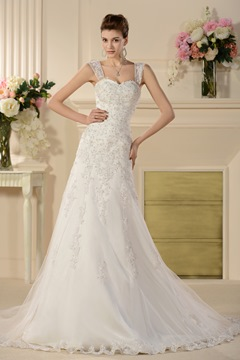 Brilliant A-line Removable Straps Chapel Appliques Wedding Dress