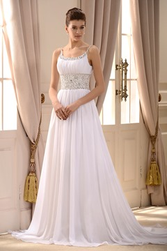 Style Empire Spaghetti Straps Sleeveless Beaded Court Train Wedding Dress