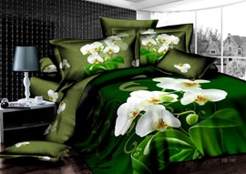 Dreamlike Colorful Green Florals Printed 4 Piece Cotton Bedding Sets