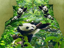 Lovely Panda in the Forest Printed 4-Piece Bedding Sets with Cotton