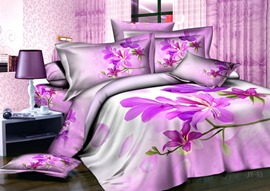 Candied Pink Flowers Pattern 4 Piece Cotton Bedding Sets with Printing
