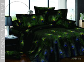 Pastoral Green 4 Piece Cotton Bedding Sets with Peacock Feathers Printing