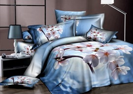 Elegant 4-Piece Cotton Bedding Sets with White Floral Printing