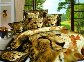 Attractive Tiger 4 Piece Cotton Bedding Sets with Colorful Printing