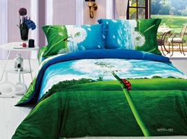 Beauty Green Nature Printed 4 Piece Cotton Bedding Sets