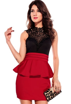 Entrancing Hollow Back Peplum Dress