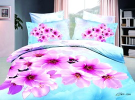 Light Blue Florals Printed 4 Piece Cotton Bedding Sets