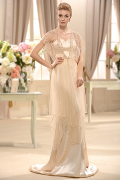 Empire V-Neck Short-Sleeves Court Train Beading Wedding Dress