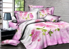 Home-Warm Pink Flowers Printed 4 Piece Cotton Bedding Sets