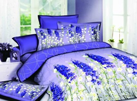 Charming Dark Royal Blue and White 4 Piece Cotton Bedding Sets with Florlas Printing