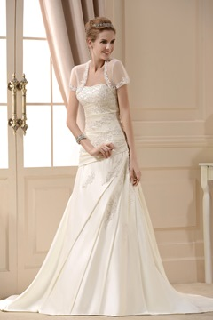 A Line Princess Strapless Chapel Train Satin Wedding Dress for Brides With Jacket/Shawl