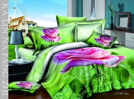 Unique Pattern and Leaves Printed 4 Piece 3D Bedding Sets
