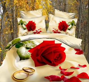 Ericdress Stunning 4 Piece Flowers Rose Print 3D Bedding Sets