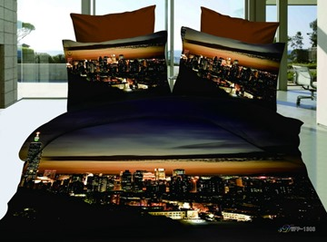 Amazing Building Prints Printed 4 Piece Cotton Bedding Sets