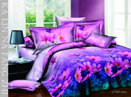 Glamour White 4 Piece Cotton Bedding Sets with Colorful Peonies Printing