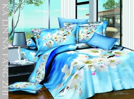 White Peach Blossom 4 Piece Bedding Sets with 100% Cotton