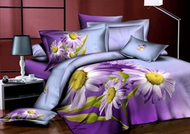 Top Quality Light Purple Background 4 Piece Cotton Comforter Sets with Sunflower Patterns